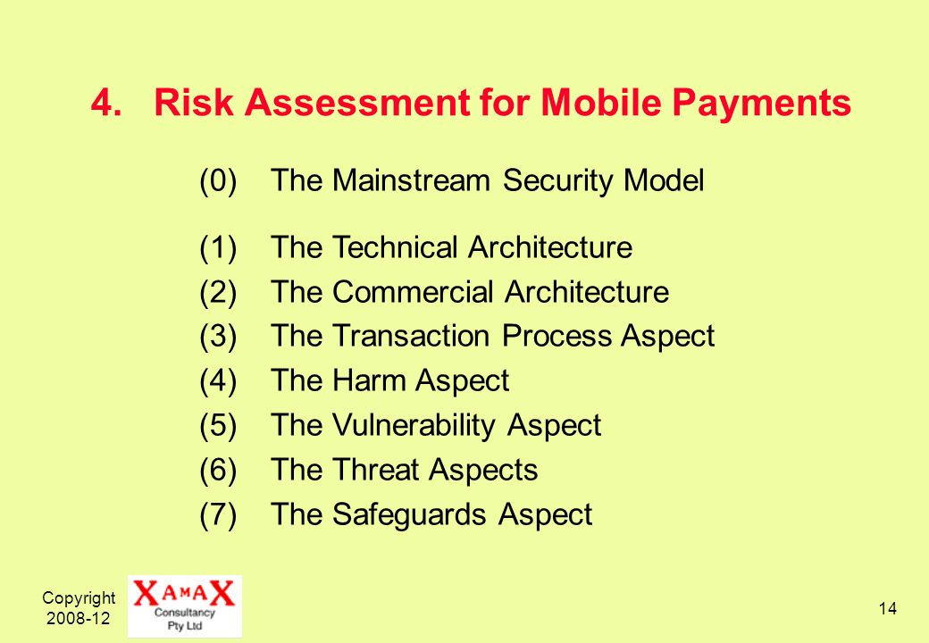 Copyright 2008-12 14 4.Risk Assessment for Mobile Payments (0)The Mainstream Security Model (1)The Technical Architecture (2)The Commercial Architecture (3)The Transaction Process Aspect (4)The Harm Aspect (5)The Vulnerability Aspect (6)The Threat Aspects (7)The Safeguards Aspect