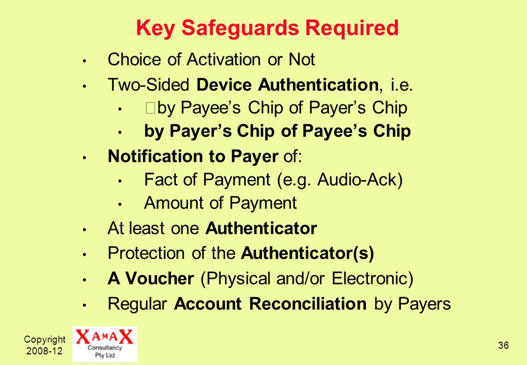 Copyright 2008-12 36 Key Safeguards Required Choice of Activation or Not Two-Sided Device Authentication, i.e.
