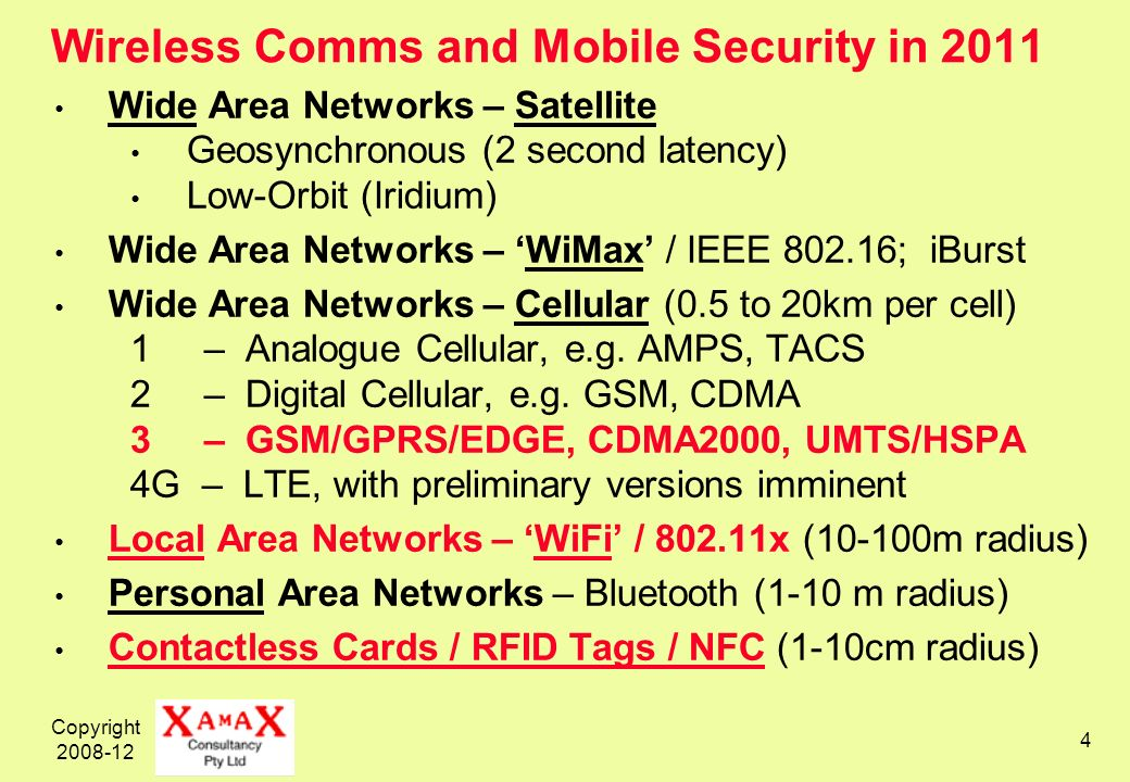 Copyright 2008-12 4 Wireless Comms and Mobile Security in 2011 Wide Area Networks – Satellite Geosynchronous (2 second latency) Low-Orbit (Iridium) Wide Area Networks – WiMax / IEEE 802.16; iBurst Wide Area Networks – Cellular (0.5 to 20km per cell) 1 – Analogue Cellular, e.g.