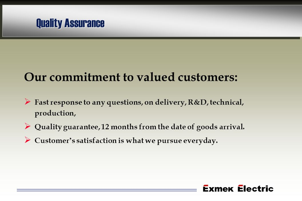 Quality Assurance Our commitment to valued customers: Fast response to any questions, on delivery, R&D, technical, production, Quality guarantee, 12 m
