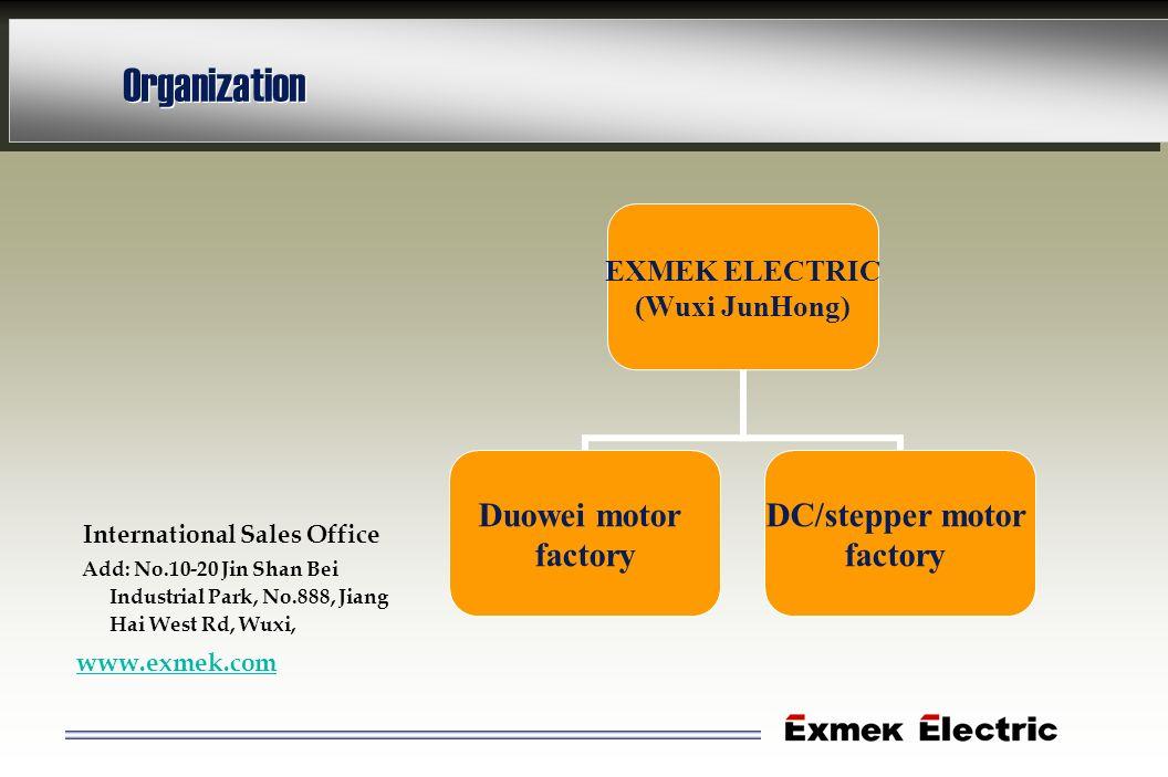Organization EXMEK ELECTRIC (Wuxi JunHong) Duowei motor factory DC/stepper motor factory International Sales Office Add: No.10-20 Jin Shan Bei Industr