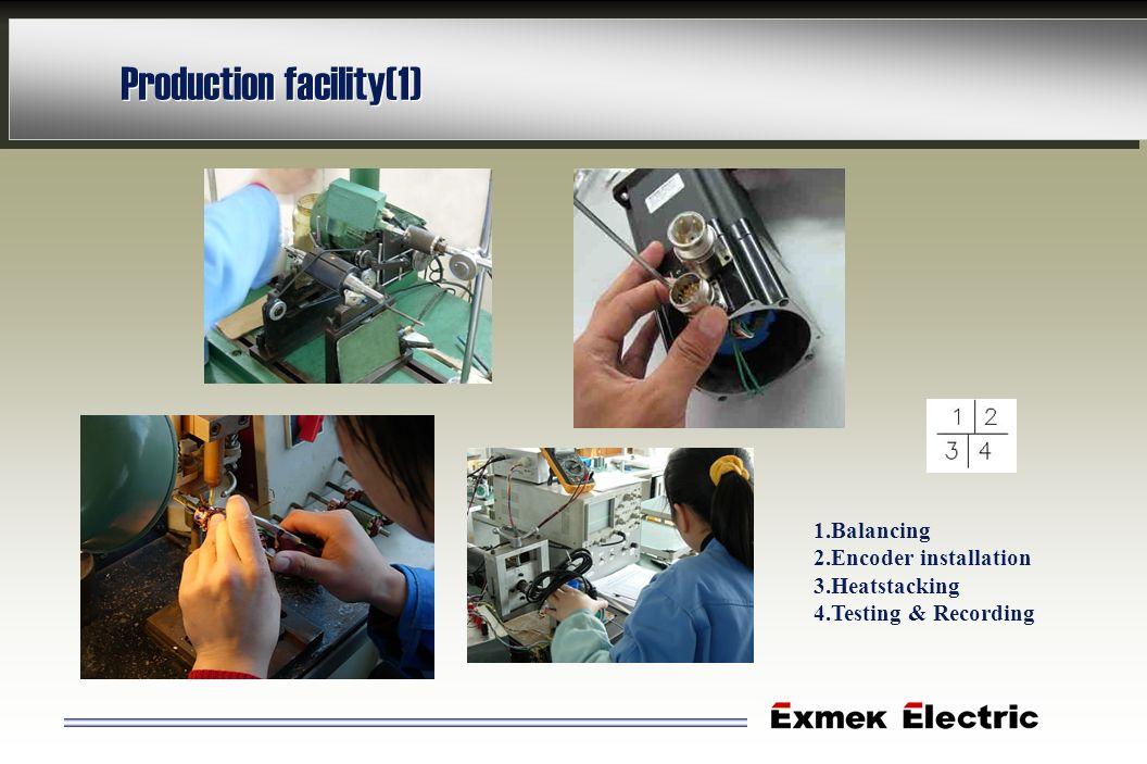 Production facility(1) 1.Balancing 2.Encoder installation 3.Heatstacking 4.Testing & Recording