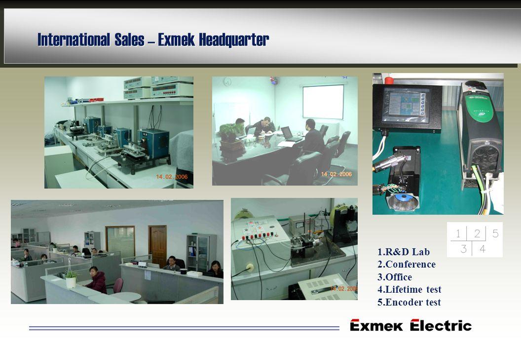 International Sales – Exmek Headquarter 1.R&D Lab 2.Conference 3.Office 4.Lifetime test 5.Encoder test