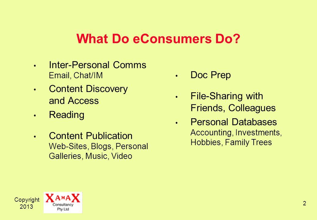 Copyright 2013 2 What Do eConsumers Do.