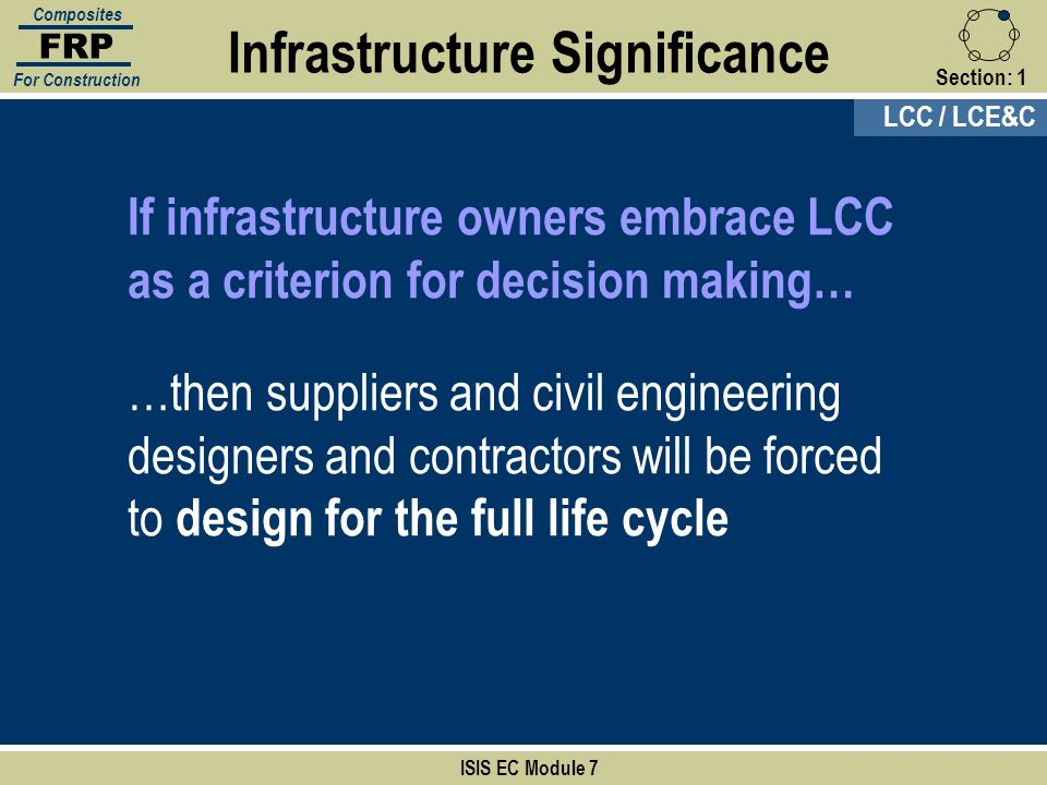 Section:1 If infrastructure owners embrace LCC as a criterion for decision making… …then suppliers and civil engineering designers and contractors wil