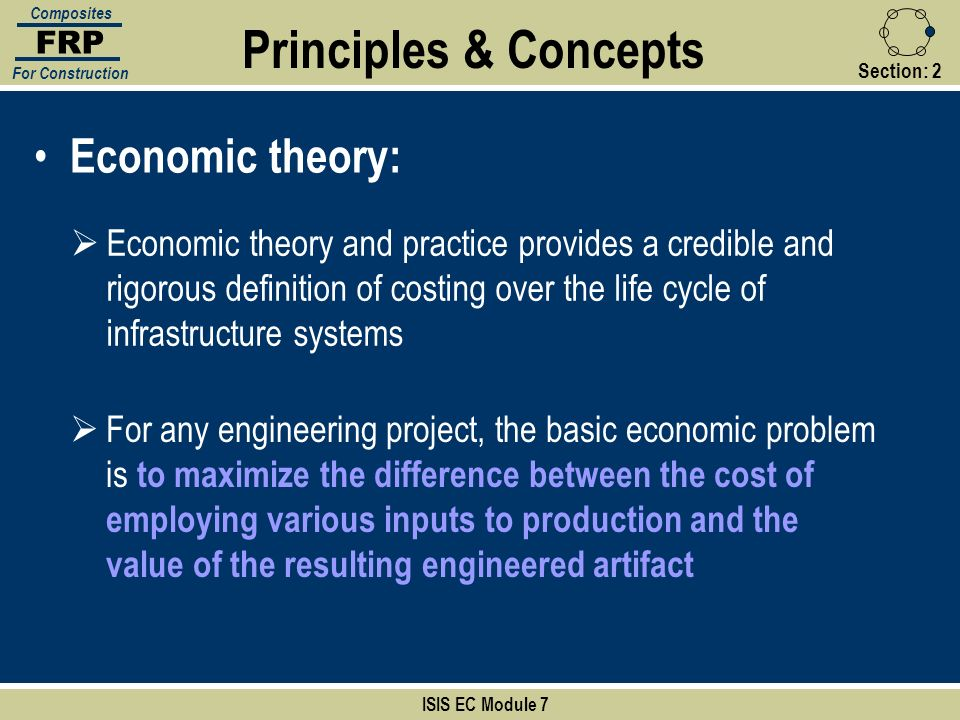 Section:2 Principles & Concepts ISIS EC Module 7 FRP Composites For Construction Economic theory: Economic theory and practice provides a credible and