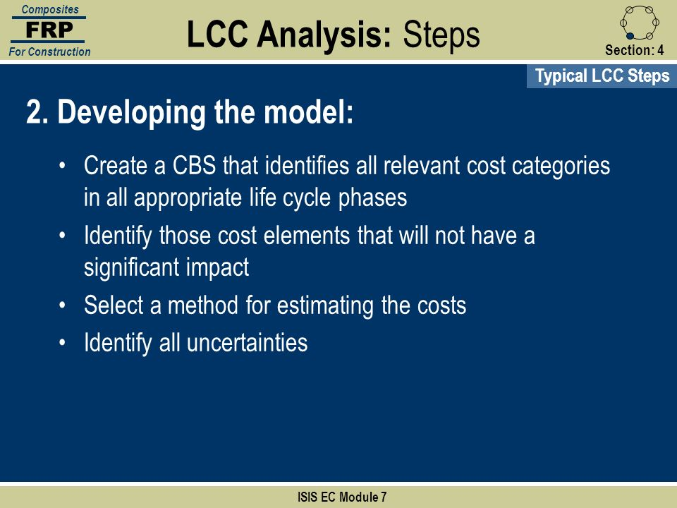 Section:4 ISIS EC Module 7 FRP Composites For Construction 2. Developing the model: Create a CBS that identifies all relevant cost categories in all a