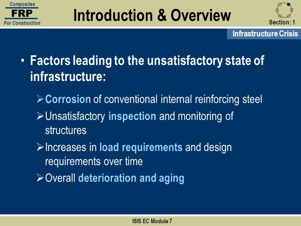 Section:1 ISIS EC Module 7 FRP Composites For Construction Deteriorated structures… Severely corroded steel has resulted in spalling of the concrete cover and exposure of the steel reinforcement Introduction & Overview Infrastructure Crisis