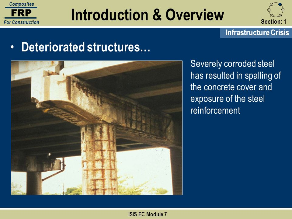 Section:1 ISIS EC Module 7 FRP Composites For Construction Deteriorated structures… Severely corroded steel has resulted in spalling of the concrete c