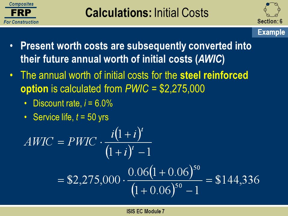 Section:6 ISIS EC Module 7 FRP Composites For Construction Present worth costs are subsequently converted into their future annual worth of initial co