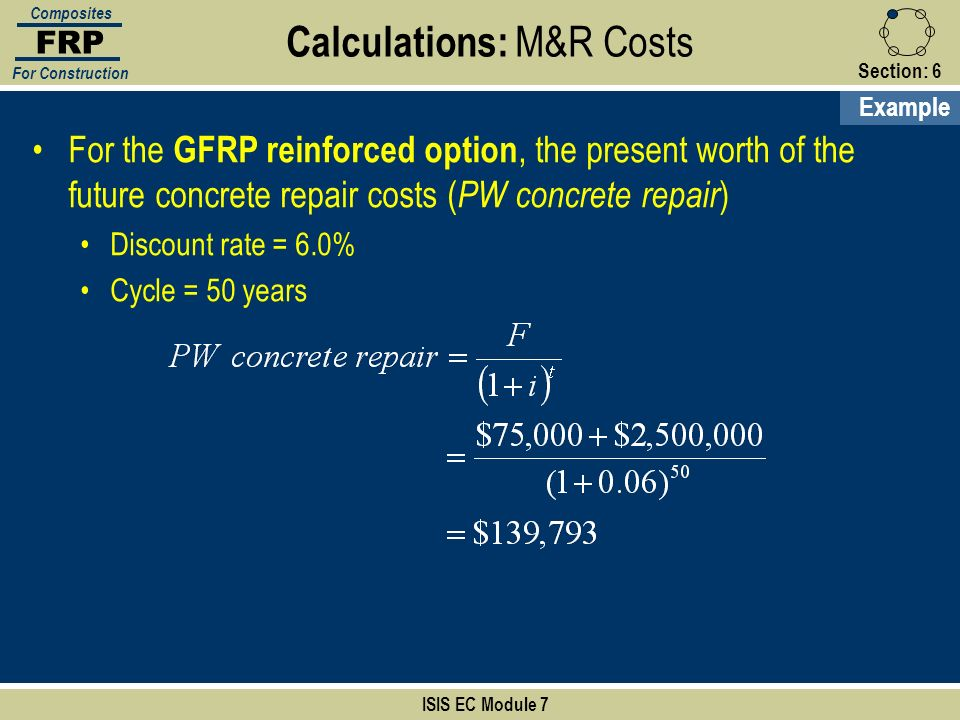 Section:6 ISIS EC Module 7 FRP Composites For Construction Calculations: M&R Costs Example For the GFRP reinforced option, the present worth of the fu