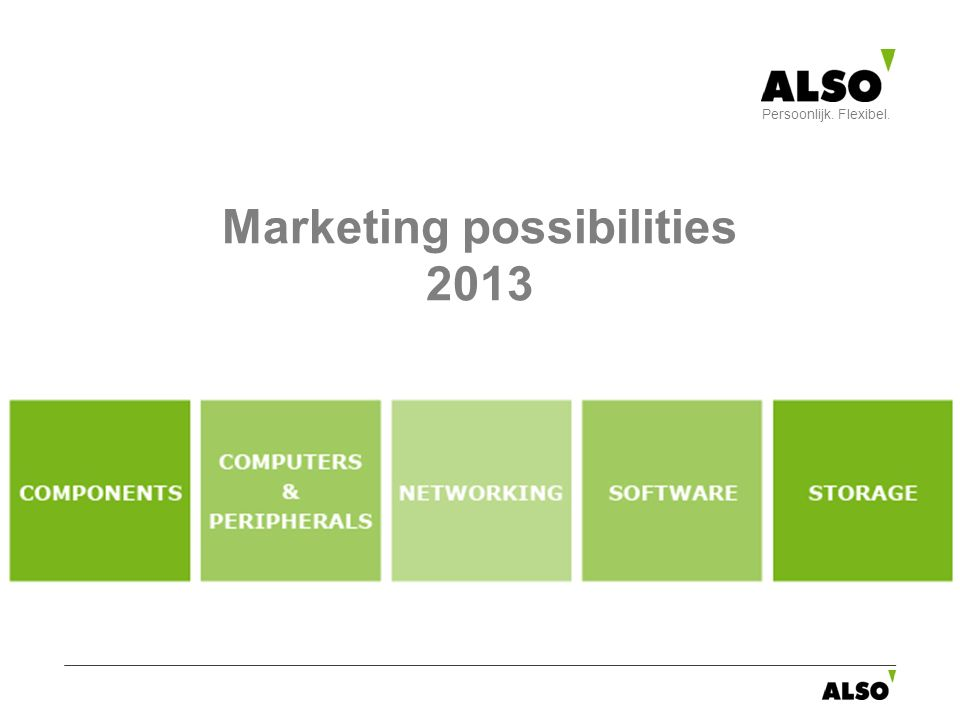 Marketing possibilities 2013 Persoonlijk. Flexibel.