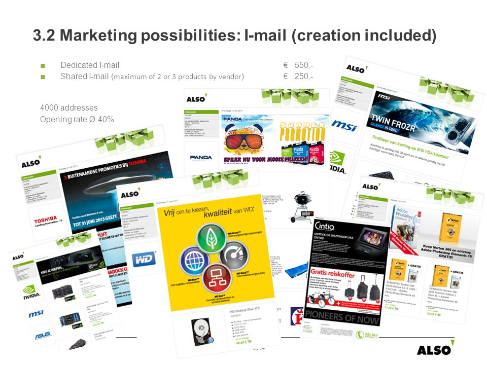 Dedicated I-mail 550,- Shared I-mail ( maximum of 2 or 3 products by vendor ) 250,- 4000 addresses Opening rate Ø 40% 3.2 Marketing possibilities: I-mail (creation included) 1/2/2014