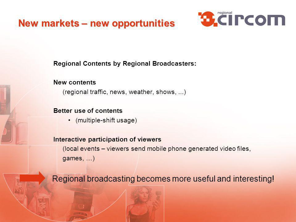 Regional Contents by Regional Broadcasters: New contents (regional traffic, news, weather, shows,...) Better use of contents (multiple-shift usage) Interactive participation of viewers (local events – viewers send mobile phone generated video files, games, …) Regional broadcasting becomes more useful and interesting.