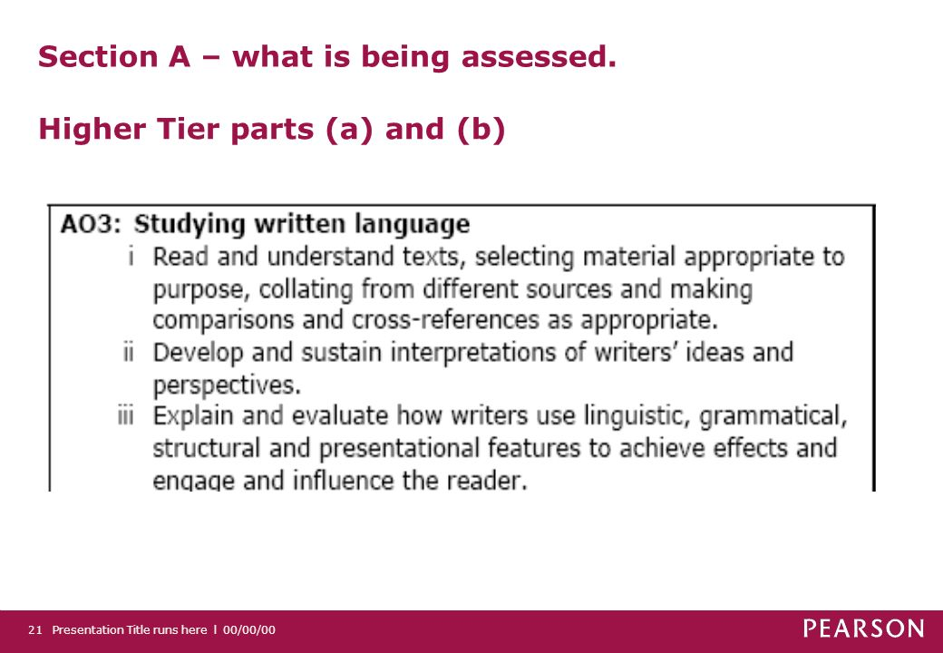 Presentation Title runs here l 00/00/0021 Section A – what is being assessed.