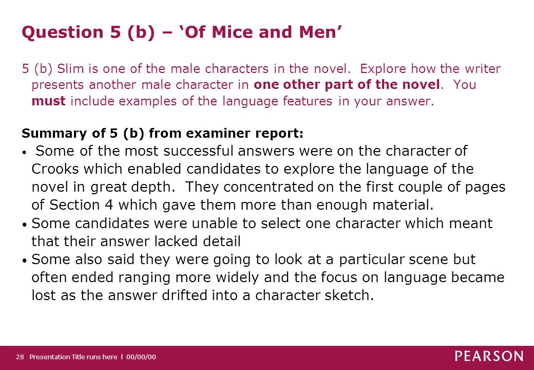 Presentation Title runs here l 00/00/0028 Question 5 (b) – Of Mice and Men 5 (b) Slim is one of the male characters in the novel.