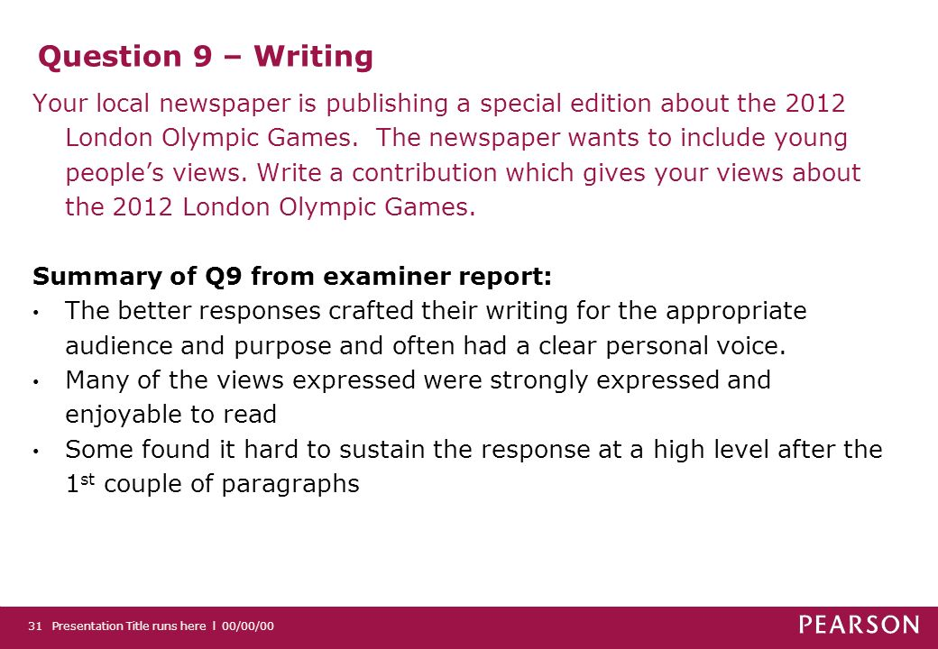 Question 9 – Writing Your local newspaper is publishing a special edition about the 2012 London Olympic Games.