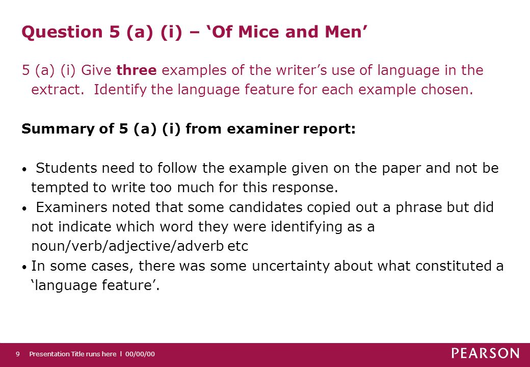 Presentation Title runs here l 00/00/009 Question 5 (a) (i) – Of Mice and Men 5 (a) (i) Give three examples of the writers use of language in the extract.
