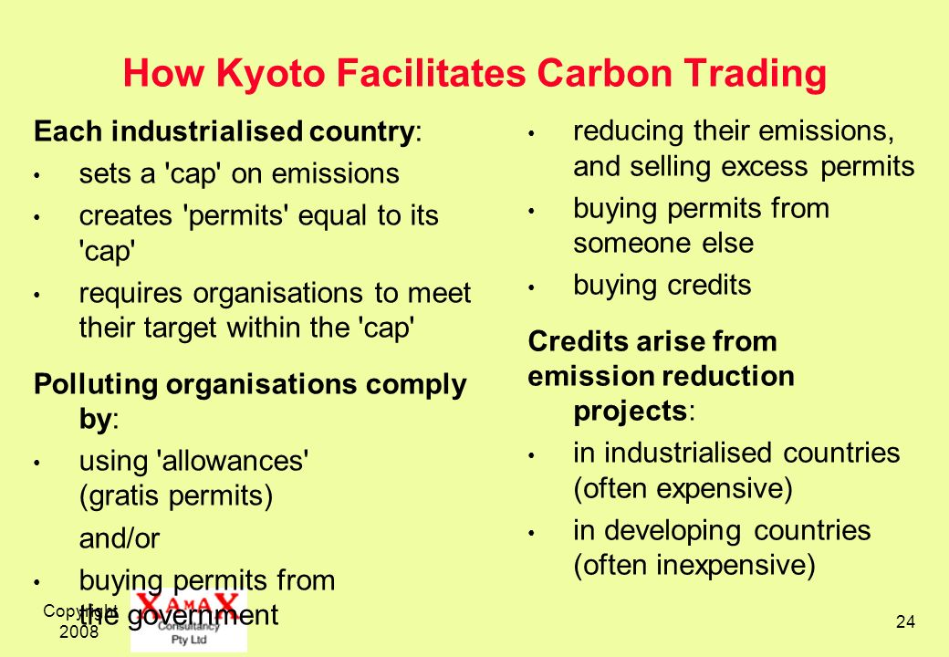 Copyright 2008 24 How Kyoto Facilitates Carbon Trading Each industrialised country: sets a cap on emissions creates permits equal to its cap requires organisations to meet their target within the cap Polluting organisations comply by: using allowances (gratis permits) and/or buying permits from the government reducing their emissions, and selling excess permits buying permits from someone else buying credits Credits arise from emission reduction projects: in industrialised countries (often expensive) in developing countries (often inexpensive)