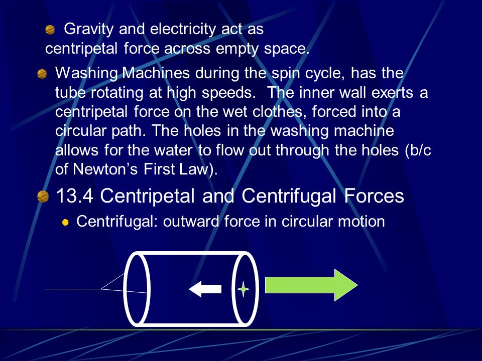 Centripetal Force Centripetal Force is a force that allows an object to follow a circular path. It is the name given to the force at right angles to t