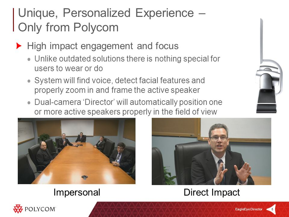 6 EagleEye Director High impact engagement and focus Unlike outdated solutions there is nothing special for users to wear or do System will find voice