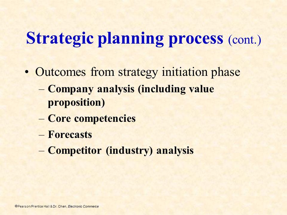 Dr. Chen, Electronic Commerce Pearson/Prentice Hall & Dr. Chen, Electronic Commerce Strategic planning process (cont.) Outcomes from strategy initiati