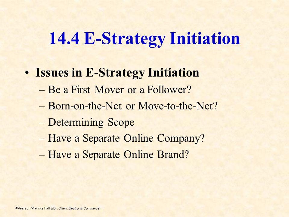 Dr. Chen, Electronic Commerce Pearson/Prentice Hall & Dr. Chen, Electronic Commerce 14.4 E-Strategy Initiation Issues in E-Strategy Initiation –Be a F