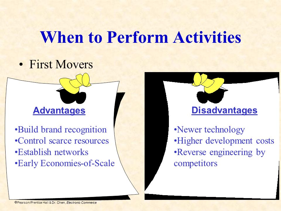 Dr. Chen, Electronic Commerce Pearson/Prentice Hall & Dr. Chen, Electronic Commerce When to Perform Activities First Movers Advantages Disadvantages B