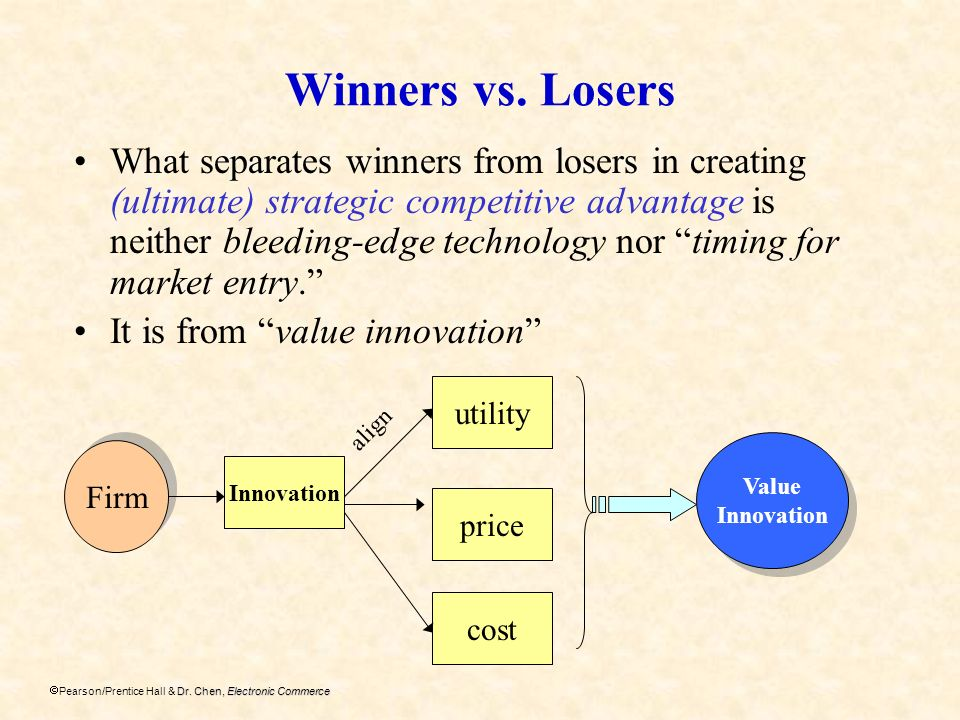 Dr. Chen, Electronic Commerce Pearson/Prentice Hall & Dr. Chen, Electronic Commerce Winners vs. Losers What separates winners from losers in creating