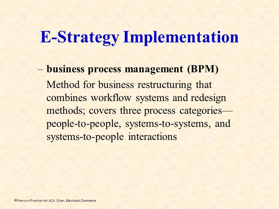 Dr. Chen, Electronic Commerce Pearson/Prentice Hall & Dr. Chen, Electronic Commerce E-Strategy Implementation –business process management (BPM) Metho