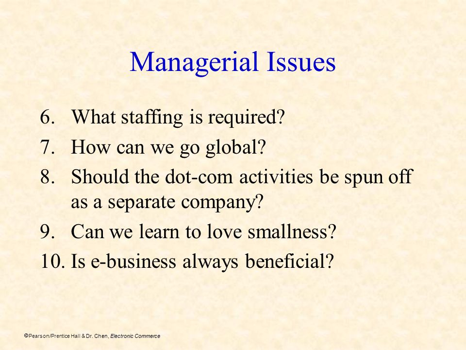 Dr. Chen, Electronic Commerce Pearson/Prentice Hall & Dr. Chen, Electronic Commerce Managerial Issues 6.What staffing is required? 7.How can we go glo