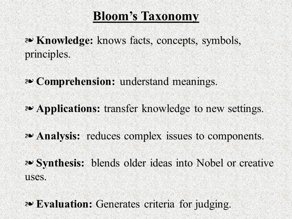 Blooms Taxonomy Knowledge: knows facts, concepts, symbols, principles. Comprehension: understand meanings. Applications: transfer knowledge to new set