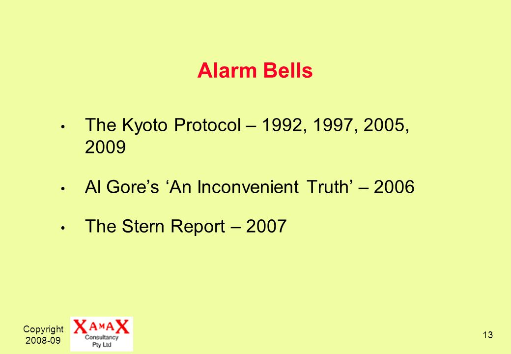 Copyright 2008-09 13 Alarm Bells The Kyoto Protocol – 1992, 1997, 2005, 2009 Al Gores An Inconvenient Truth – 2006 The Stern Report – 2007