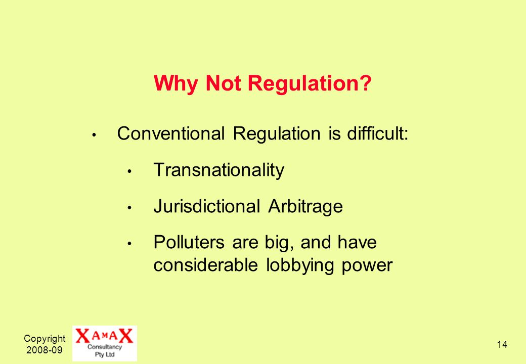 Copyright 2008-09 14 Why Not Regulation.