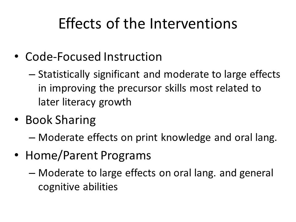 Effects of the Interventions Code-Focused Instruction – Statistically significant and moderate to large effects in improving the precursor skills most
