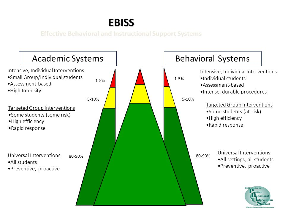 2 EBISS EBISS Effective Behavioral and Instructional Support Systems 1-5% 5-10% 80-90% Intensive, Individual Interventions Small Group/Individual stud