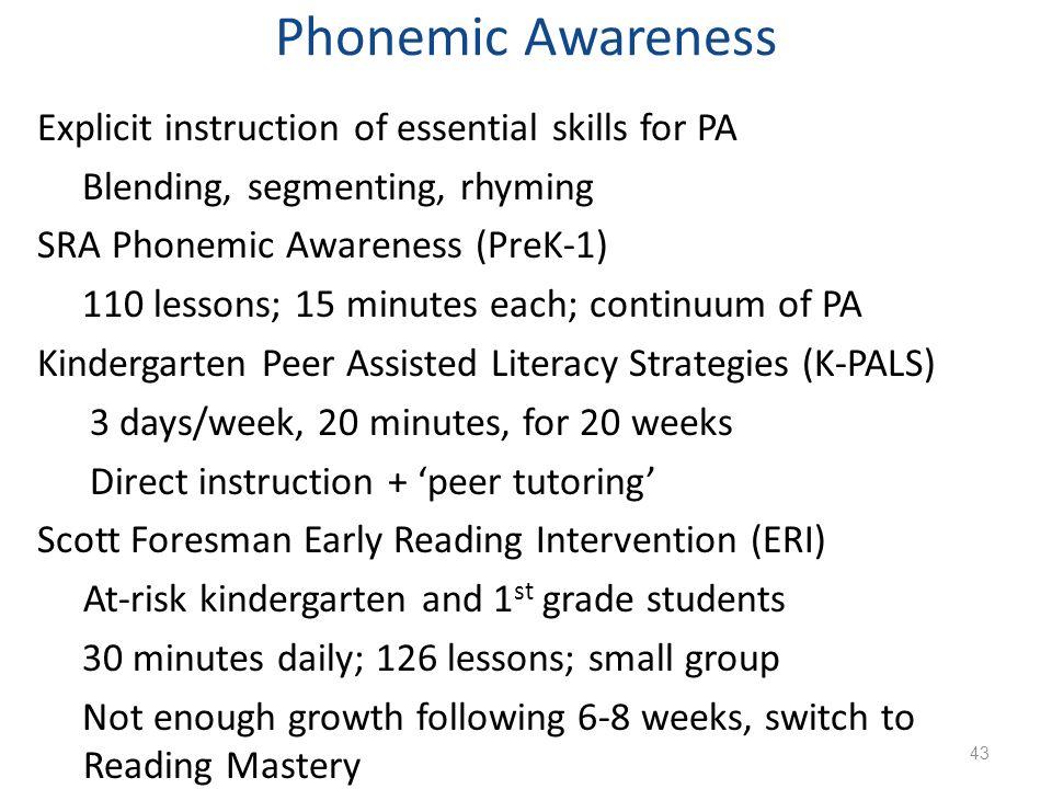 Phonemic Awareness Explicit instruction of essential skills for PA Blending, segmenting, rhyming SRA Phonemic Awareness (PreK-1) 110 lessons; 15 minut