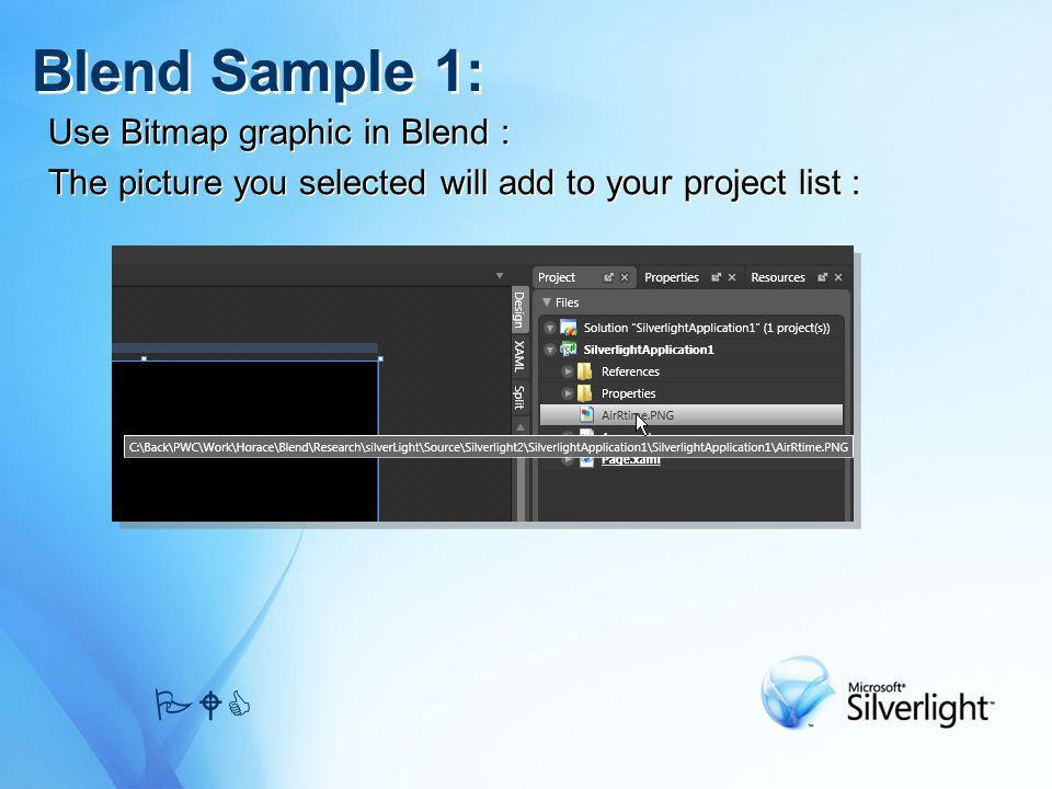 Use Bitmap graphic in Blend : The picture you selected will add to your project list : Use Bitmap graphic in Blend : The picture you selected will add