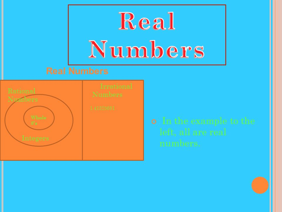 In the example to the left, all are real numbers. Real Numbers Rational Numbers Integers Whole #s Irrational Numbers 1.41325681