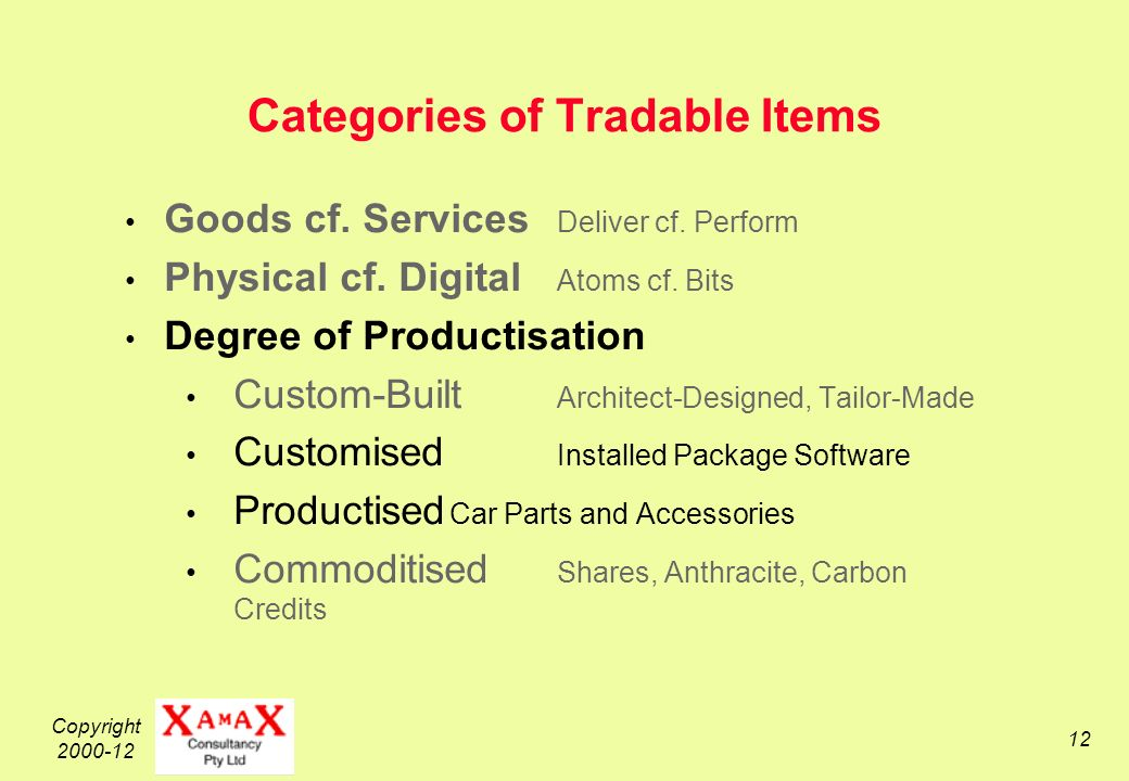 Copyright 2000-12 12 Categories of Tradable Items Goods cf.