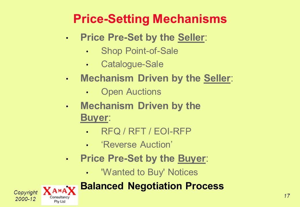 Copyright 2000-12 17 Price-Setting Mechanisms Price Pre-Set by the Seller: Shop Point-of-Sale Catalogue-Sale Mechanism Driven by the Seller: Open Auctions Mechanism Driven by the Buyer: RFQ / RFT / EOI-RFP Reverse Auction Price Pre-Set by the Buyer: Wanted to Buy Notices Balanced Negotiation Process