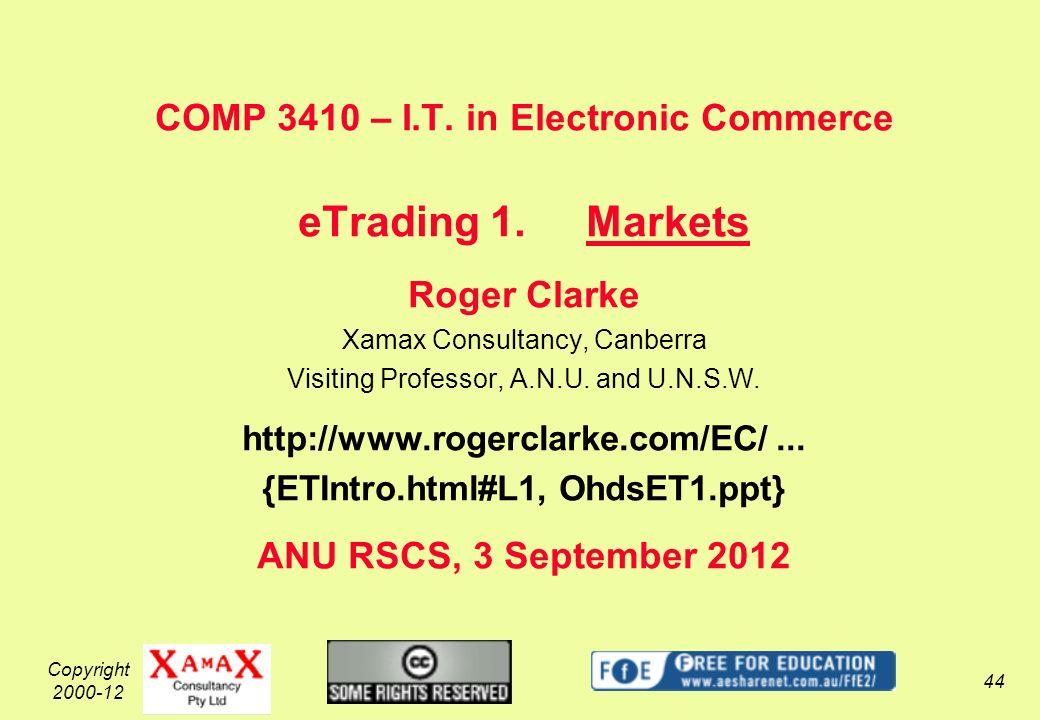 Copyright 2000-12 44 COMP 3410 – I.T.