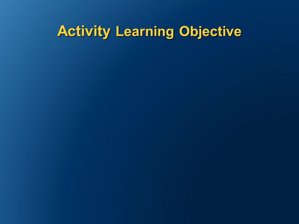 Activity Learning Objective