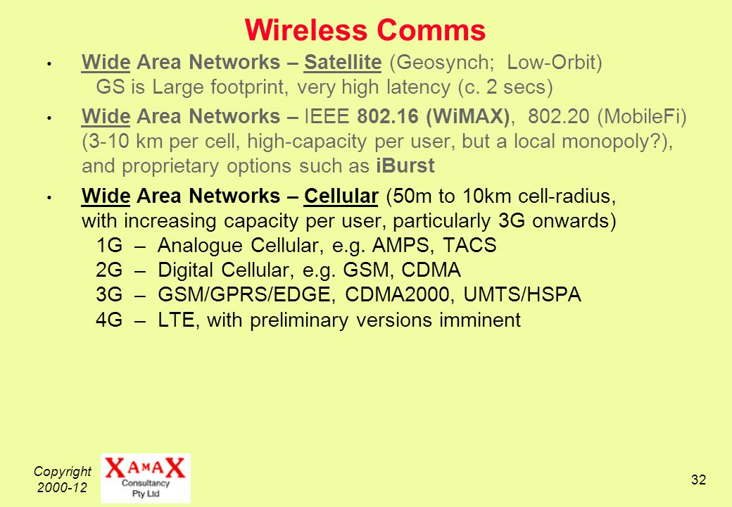 Copyright 2000-12 32 Wireless Comms Wide Area Networks – Satellite (Geosynch; Low-Orbit) GS is Large footprint, very high latency (c.