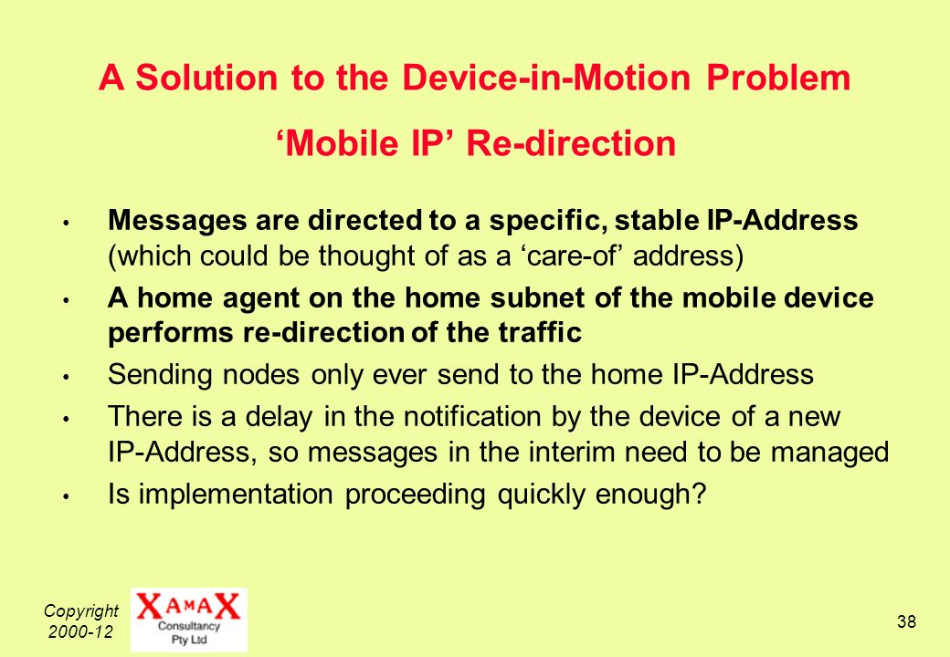 Copyright 2000-12 38 A Solution to the Device-in-Motion Problem Mobile IP Re-direction Messages are directed to a specific, stable IP-Address (which could be thought of as a care-of address) A home agent on the home subnet of the mobile device performs re-direction of the traffic Sending nodes only ever send to the home IP-Address There is a delay in the notification by the device of a new IP-Address, so messages in the interim need to be managed Is implementation proceeding quickly enough?