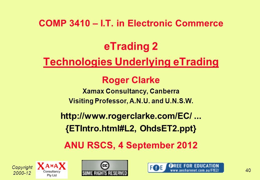 Copyright 2000-12 40 COMP 3410 – I.T.