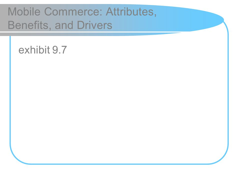 Mobile Commerce: Attributes, Benefits, and Drivers exhibit 9.7
