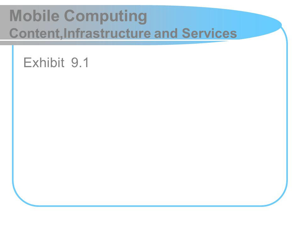 Mobile Computing Content,Infrastructure and Services Exhibit 9.1