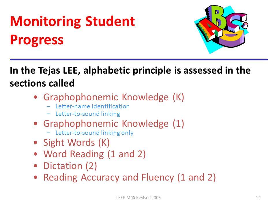 LEER MAS Revised 200614 Monitoring Student Progress Graphophonemic Knowledge (K) –Letter-name identification –Letter-to-sound linking Graphophonemic K