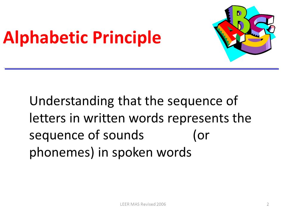 LEER MAS Revised 20062 Alphabetic Principle Understanding that the sequence of letters in written words represents the sequence of sounds (or phonemes
